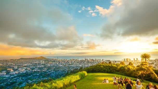 Hawaiian Sunset Tantalus Lookout Stock Video