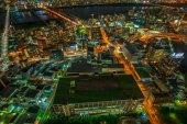 Osaka nightscape aerial