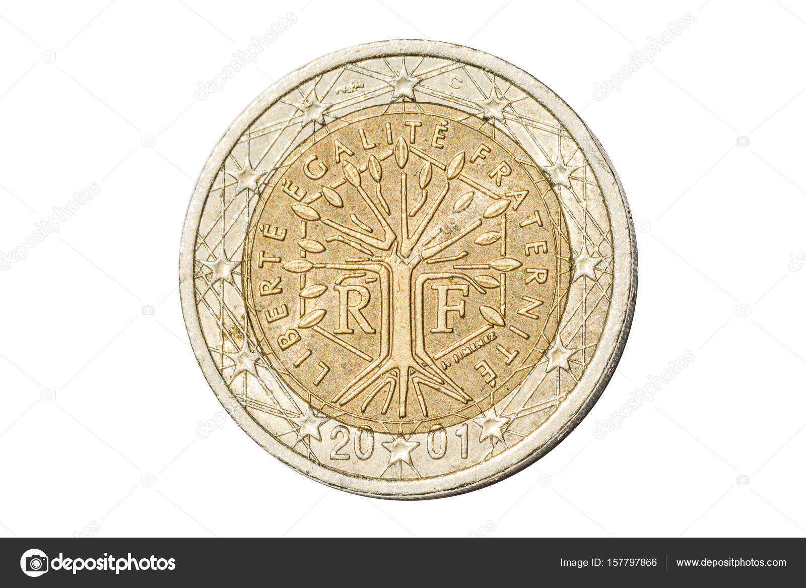France two euro coin stock photo bennymarty 157797866 french coin of two euro closeup with tree symbol with the motto liberte egalite fraternite of france isolated on white studio background biocorpaavc