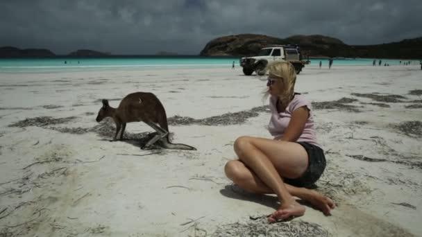 Žena a kangaroo Austrálie