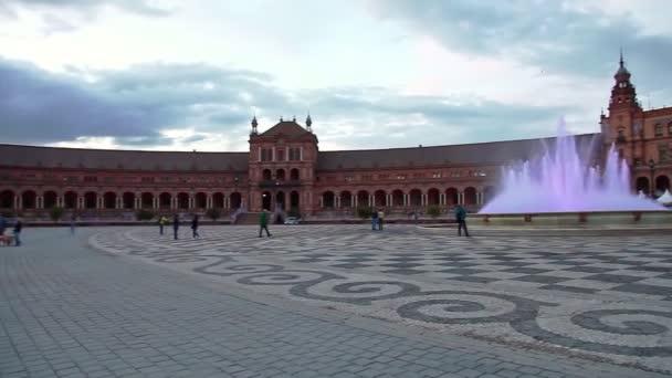 Fountain of Plaza de Espana at sunset