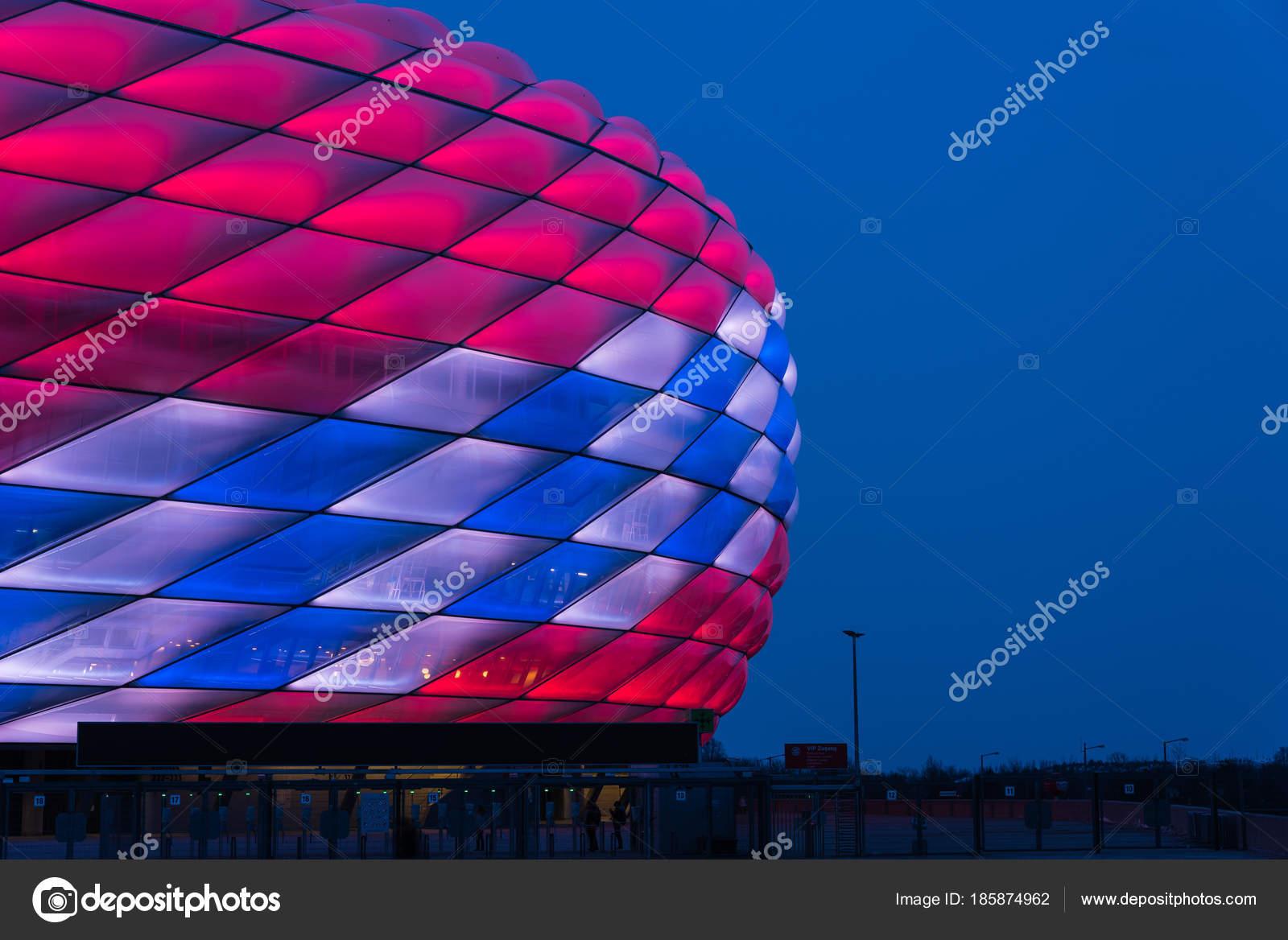 München Deutschland Februar 2018 Allianz Arena Spezielle Beleuchtung ...