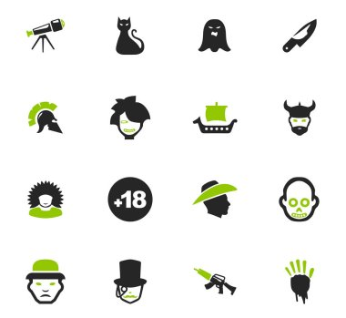 Genres of cinema icons set
