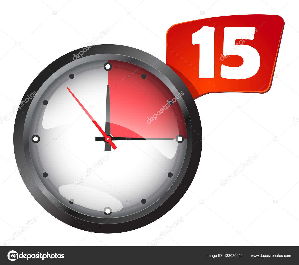 minuteur rond horloge bureau 15 minutes image vectorielle 133030244