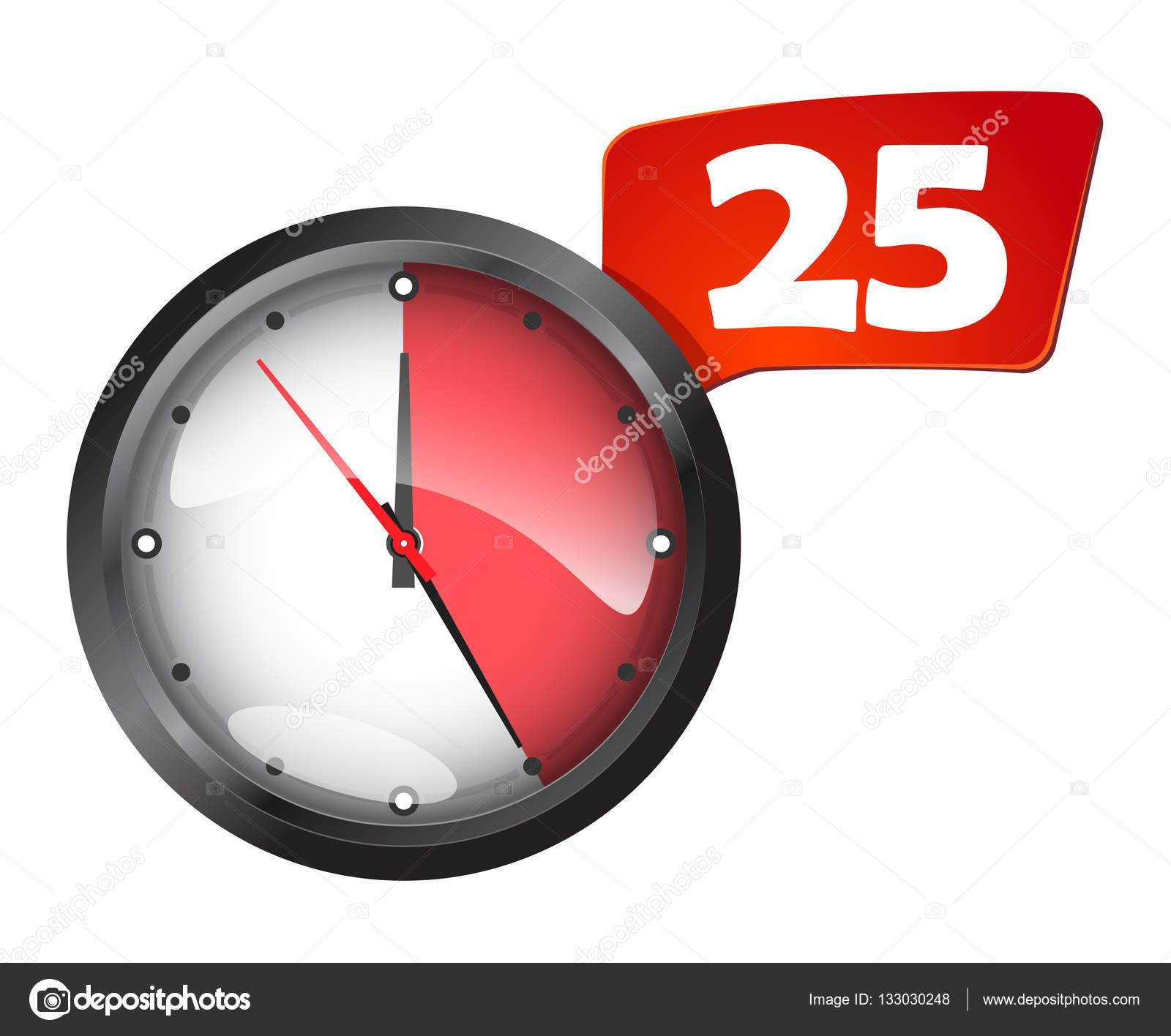Timer round wall office clock 25 minutes — Stock Vector ...