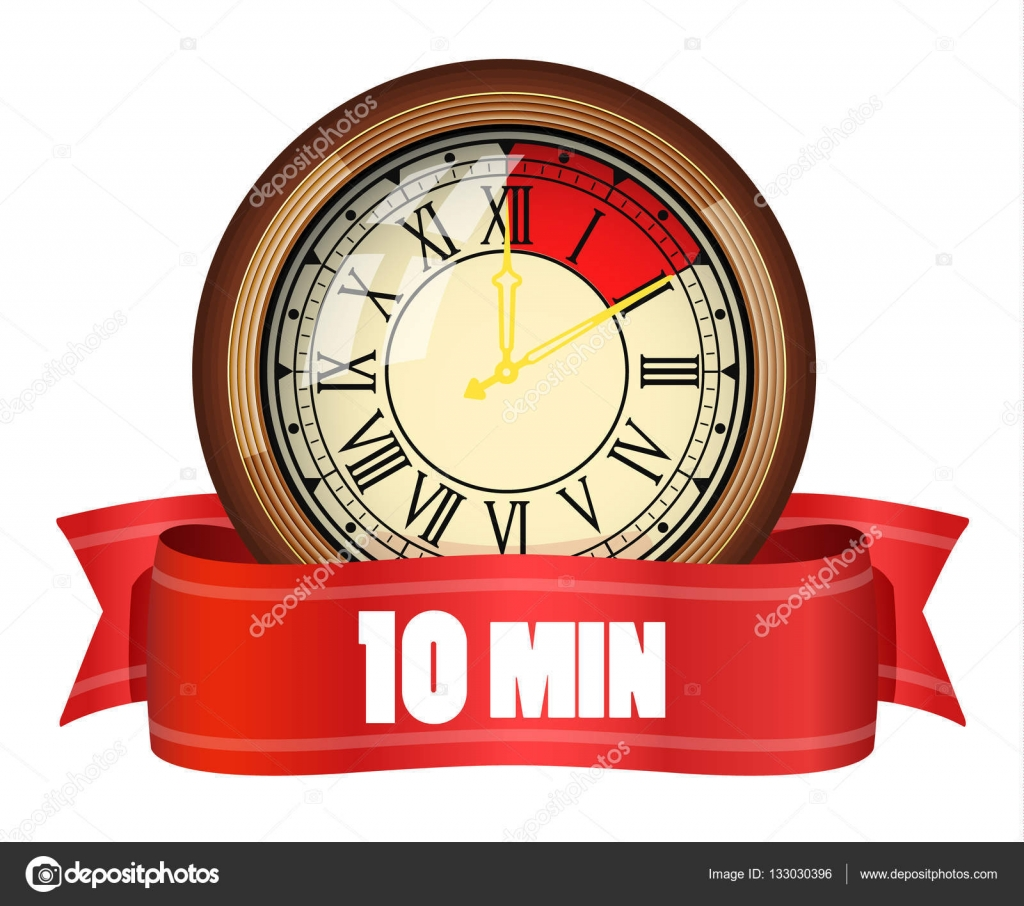 timer old table clock 10 minutes stock vector