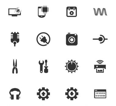 Electronics repair vector icons for user interface design stock vector
