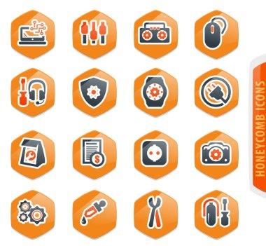 Electronic repair icons set