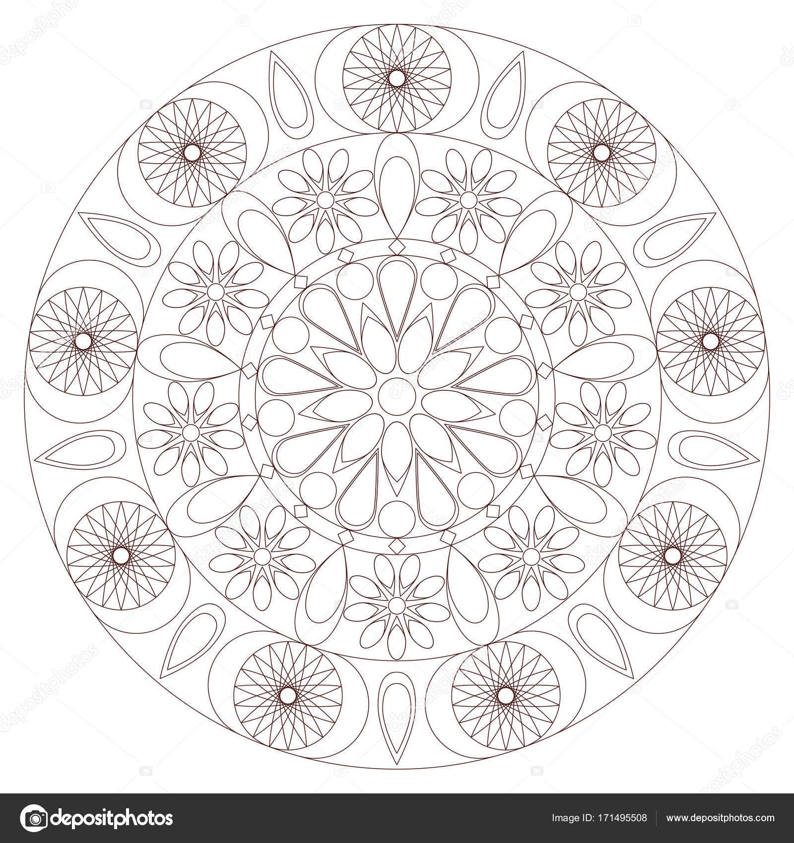 Patrón geométrico Mandala. Resumen forma redonda. Página de libro ...