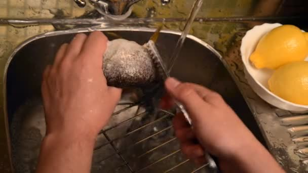 Washing and cleaning of fish.