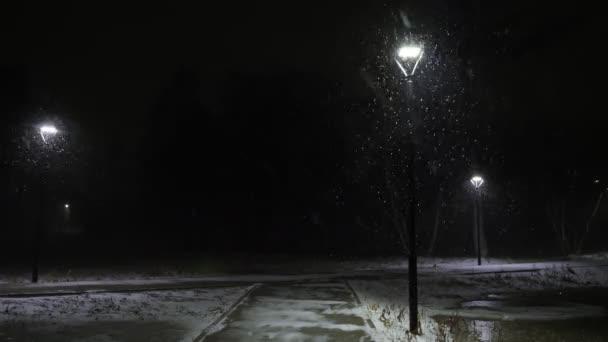 Es schneit gegen die Straßenlaterne. Schnee in Zeitlupe in 60 fps. Schneeflocken fallen schön.
