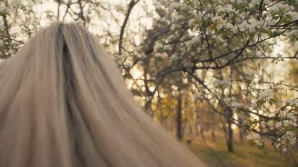 attraktive junge Frau in Pullover, Jeans tanzt und dreht sich zwischen blühenden Apfelbäumen. Sonnenuntergang, Frühlingsgarten und grüne Wiese. Zeitlupe.