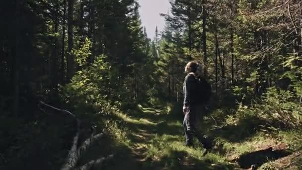 Reisender fotografiert malerische Aussicht im Wald. eine kaukasische Frau schießt schönen magischen Look. Mädchen machen Foto-Video mit spiegelloser Kamera.
