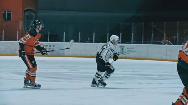 ANGARSK, RUSSIA - JANUARY 16, 2020: Ice hockey match Ermak-Chelmet. Supreme Hockey League. Kontinental Hockey League. Slow Motion.