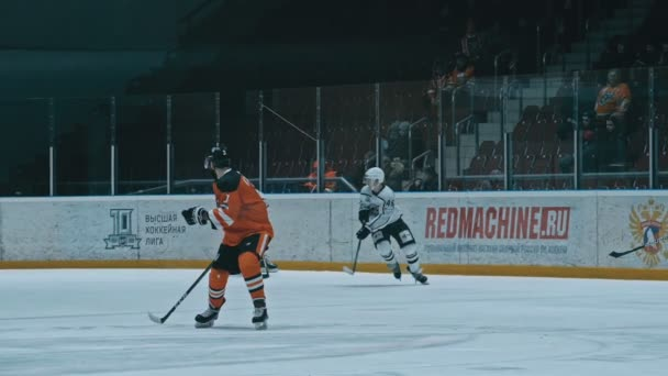 ANGARSK, RUSSIA - JANUARY 16, 2020: Ice hockey match Ermak-Chelmet. Supreme Hockey League. Kontinental Hockey League. Slow Motion.