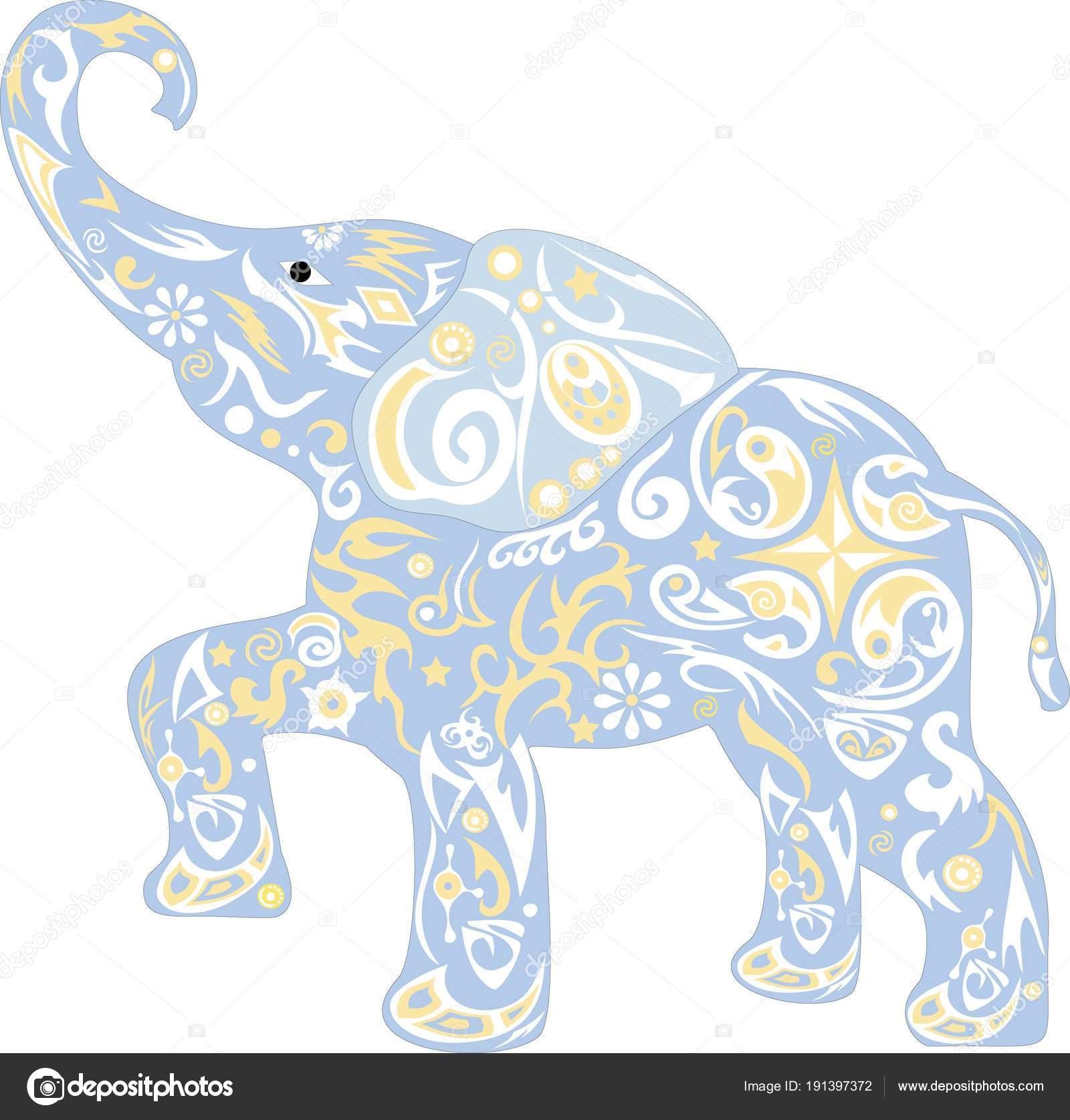 Dessin petit l phant ornement vecteur pour enfants cub mammouth avec image vectorielle sss07 - Dessin d un elephant ...