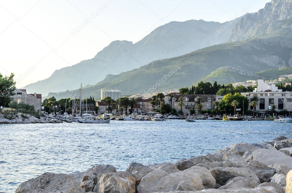 Sea Port in Makarska, Croatia at sunset.
