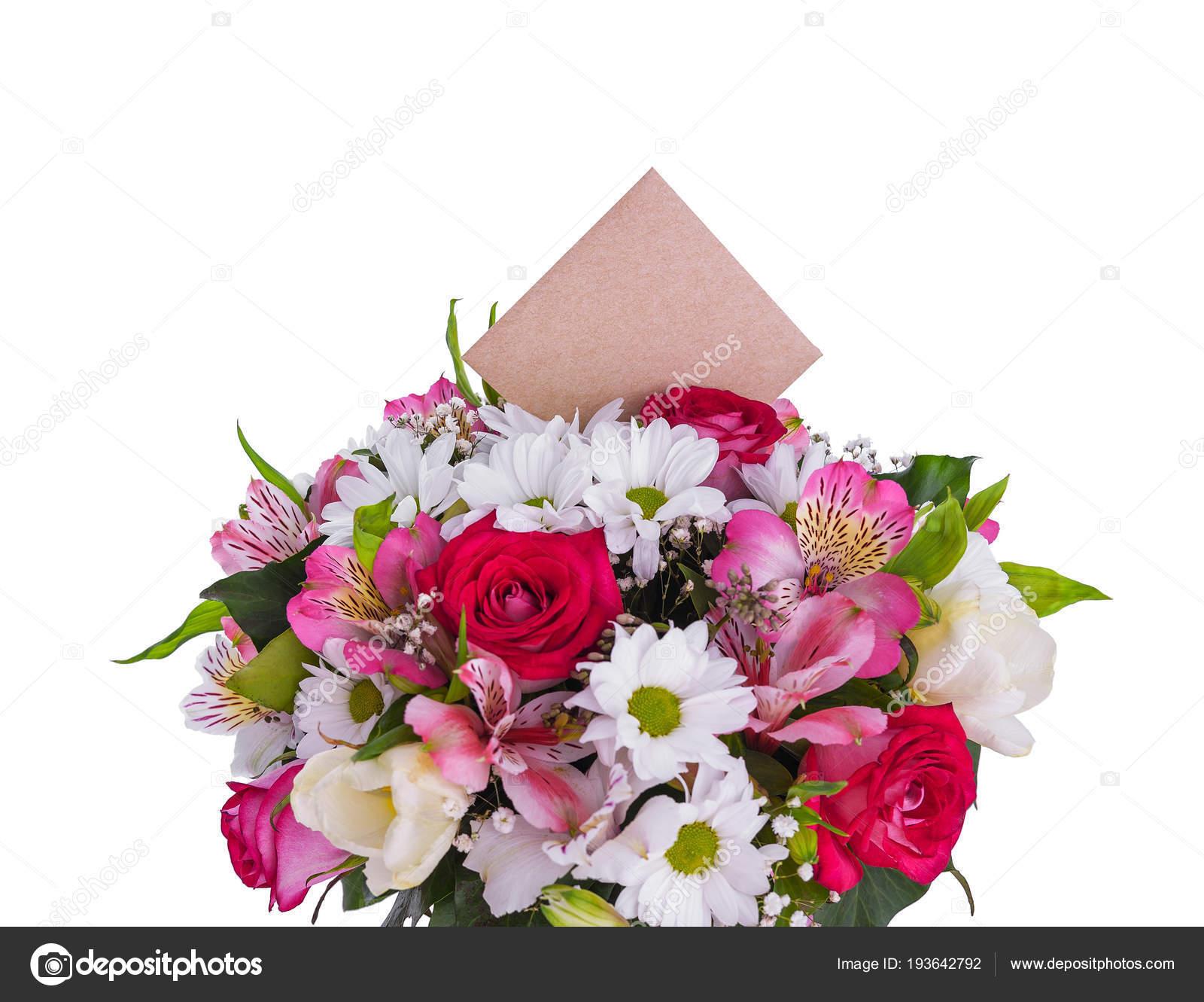 Mazzo Di Fiori Auguri.Bouquet Of Flowers With A Greeting Card Stock Photo C Tanya