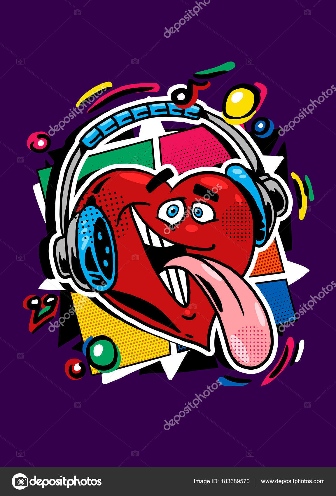 Funny Heart Earphones Listening Music Art Design Color