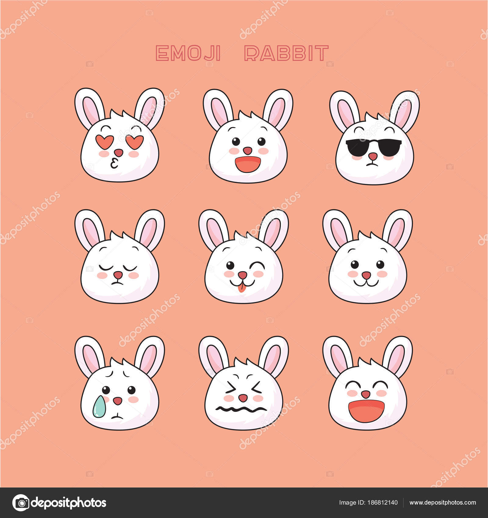 cute rabbit emoji bunny smile icons set art design color stock