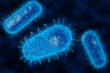 Bacteria 3D render. Spherical virus blue style. View under a microscope for bacteria
