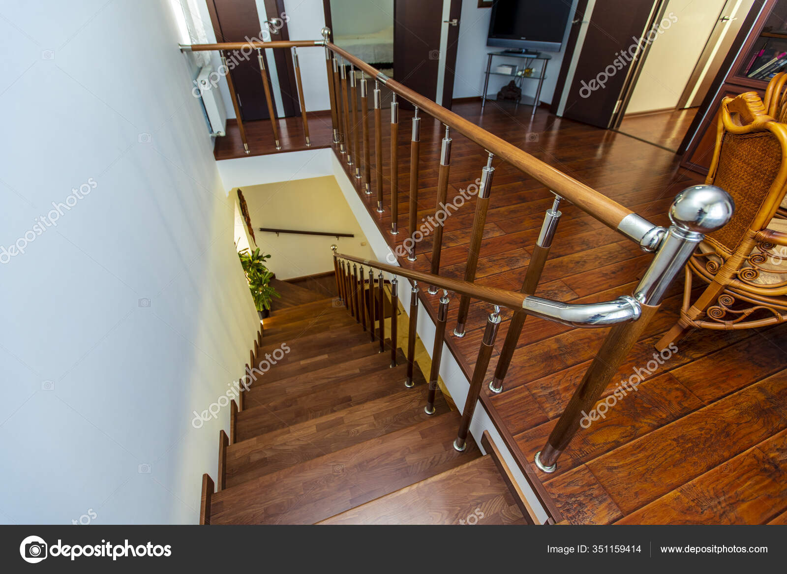 A Beautiful Wooden Staircase Of Dark Wood Leading From The Second Floor To The First Chrome Shiny Railing Stock Photo C Ant Ref Mail Ru 351159414