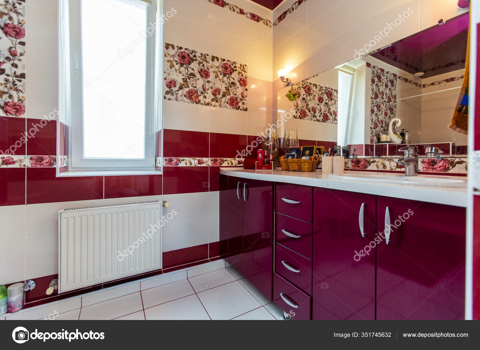 Large Bathroom In The Cottage In Red And White Colors Maroon And White Tiles Tiles With Red Colors Toilet Shower White And Maroon Tiles On The Floor Stock Photo C Ant Ref Mail Ru