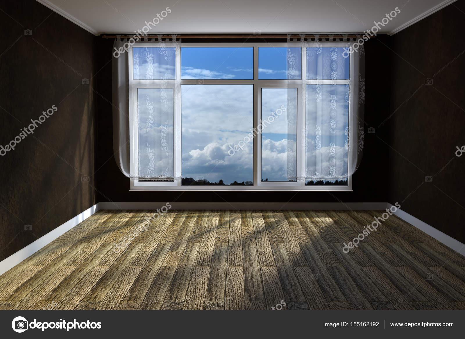 3D-Rendering des leeren unmöbliert Wohnzimmer mit rustikalen Holz ...