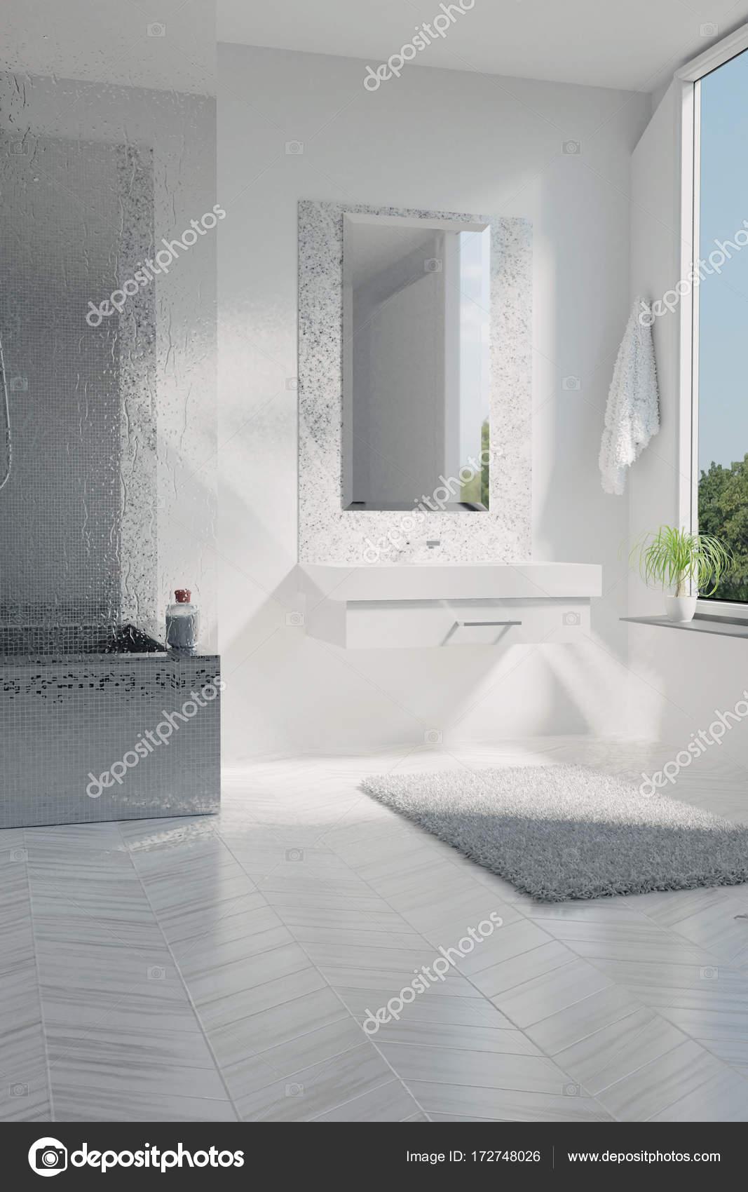 3D-Rendering des weißen Luxus-Badezimmer mit Mosaik-Fliesen ...