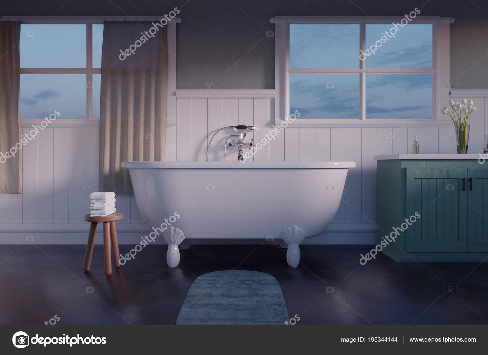 Rendering d di bagno vintage con assi di legno bianchi e pa