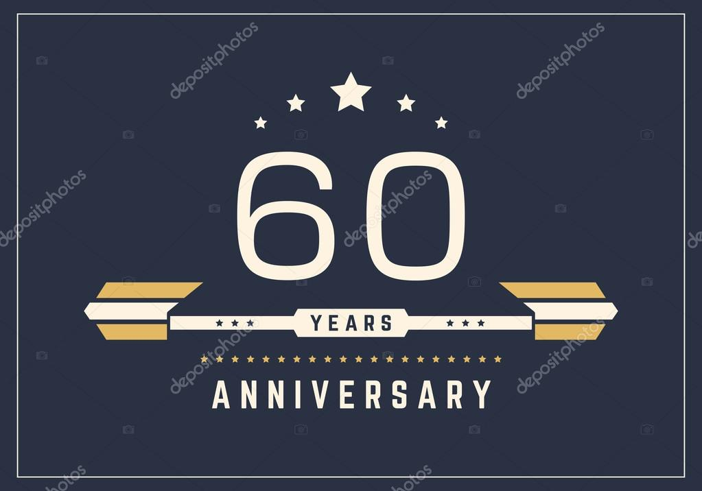 Sixty Years Anniversary Celebration Logotype 60th Anniversary Logo