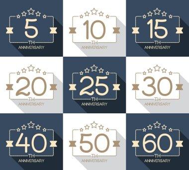 5th, 10th, 15th, 20th, 25th, 30th, 40th, 50th, 60th anniversary logo's collection.