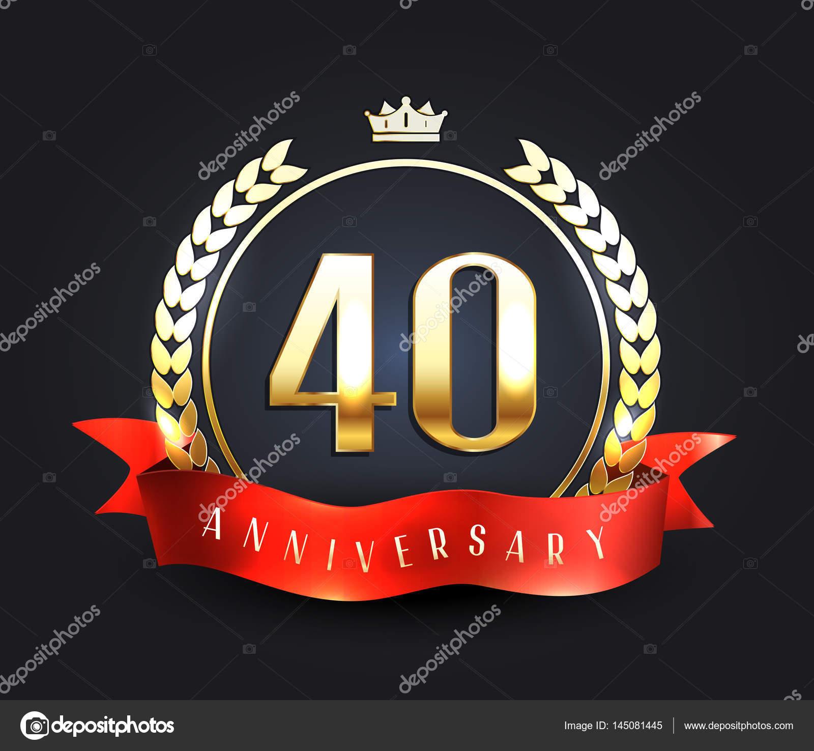 Forty Years Anniversary Banner 40th Anniversary Logo Stock