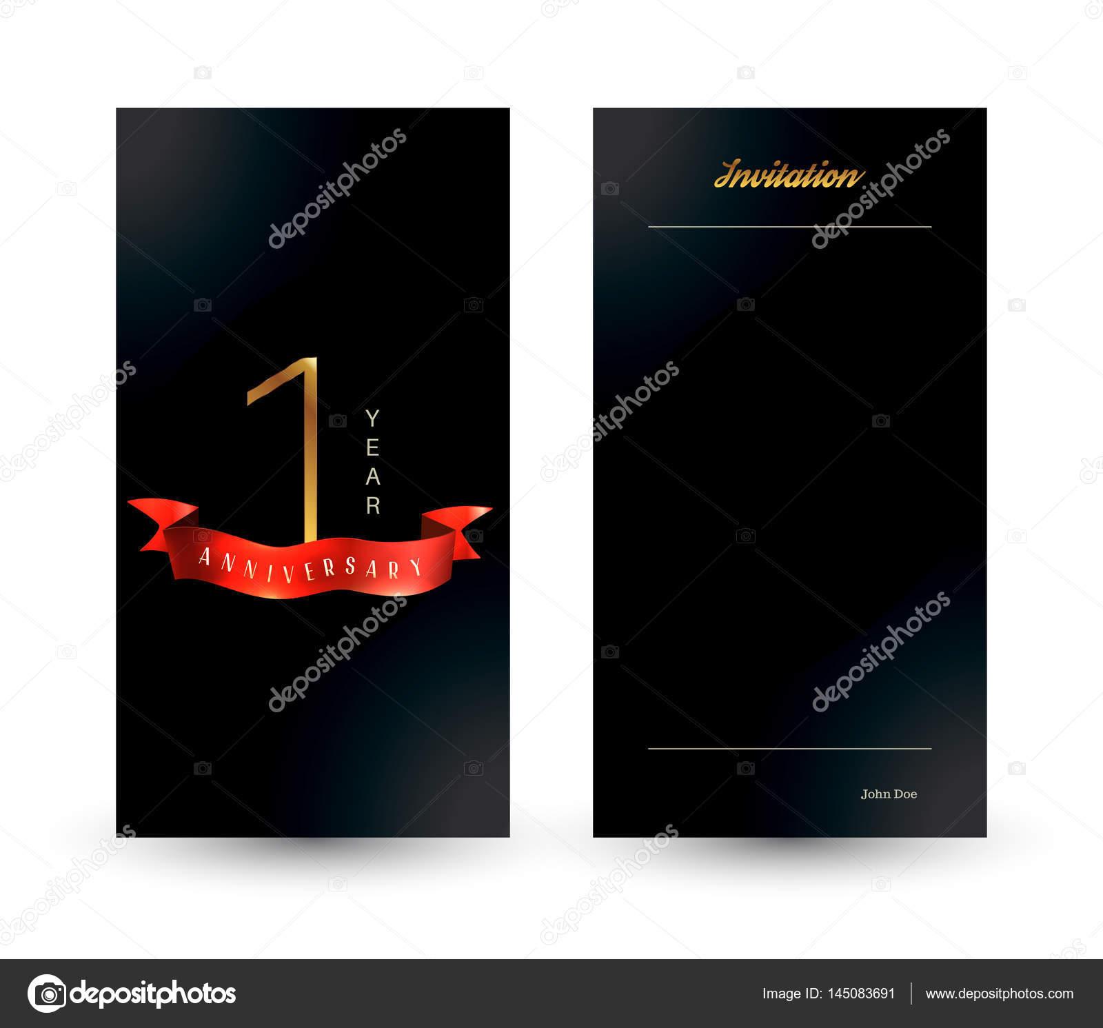 1st Anniversary Decorated Greetinginvitation Card Template Stock