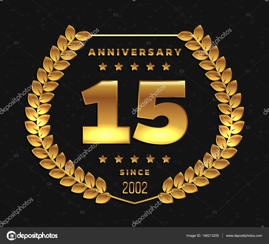 Fifteen Years Anniversary Banner 15th Anniversary Logo Stock