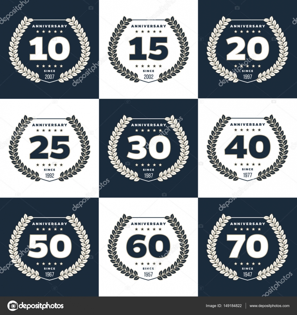 Vector set of anniversary symbols 10th 15th 20th 25th 30th vector set of anniversary symbols 10th 15th 20th 25th 30th 40th 50th 60th 70th anniversary logos collection vector by aieps biocorpaavc