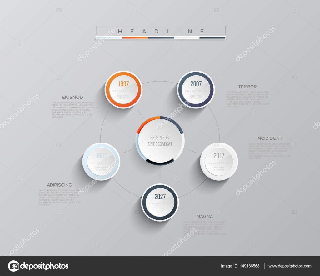 Vektor-Infografik-Vorlage. Business-Konzept mit 5 Optionen. Für ...