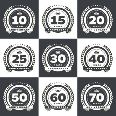 Vector set of anniversary symbols. 10th, 15th, 20th, 25th, 30th, 40th, 50th, 60th, 70th anniversary logo's collection.