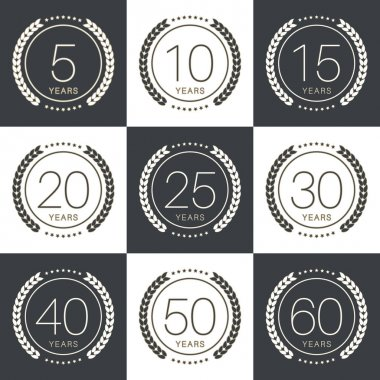Anniversary logo's collection with laurels. Vector illustration.