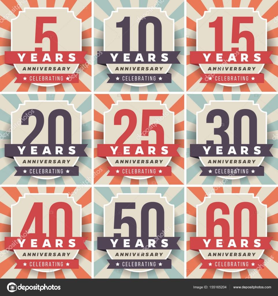 Vector Set Of Anniversary Symbols 5th 10th 15th 20th 25th 30th