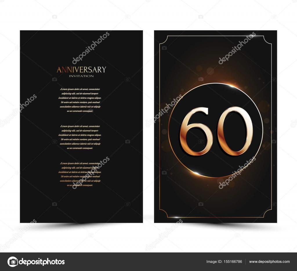 60 års hälsning 60 års jubileum inredda hälsning / inbjudan kort mall med guld  60 års hälsning