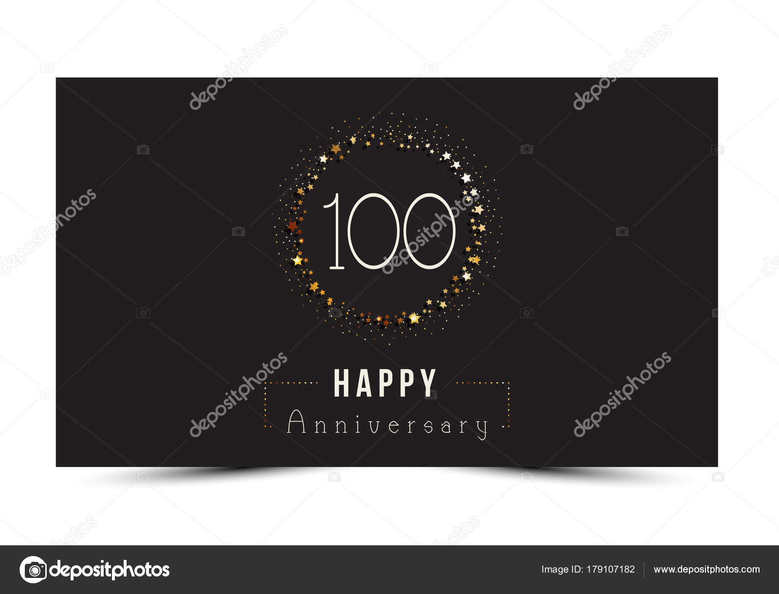 100 years happy anniversary card template with gold stars stock