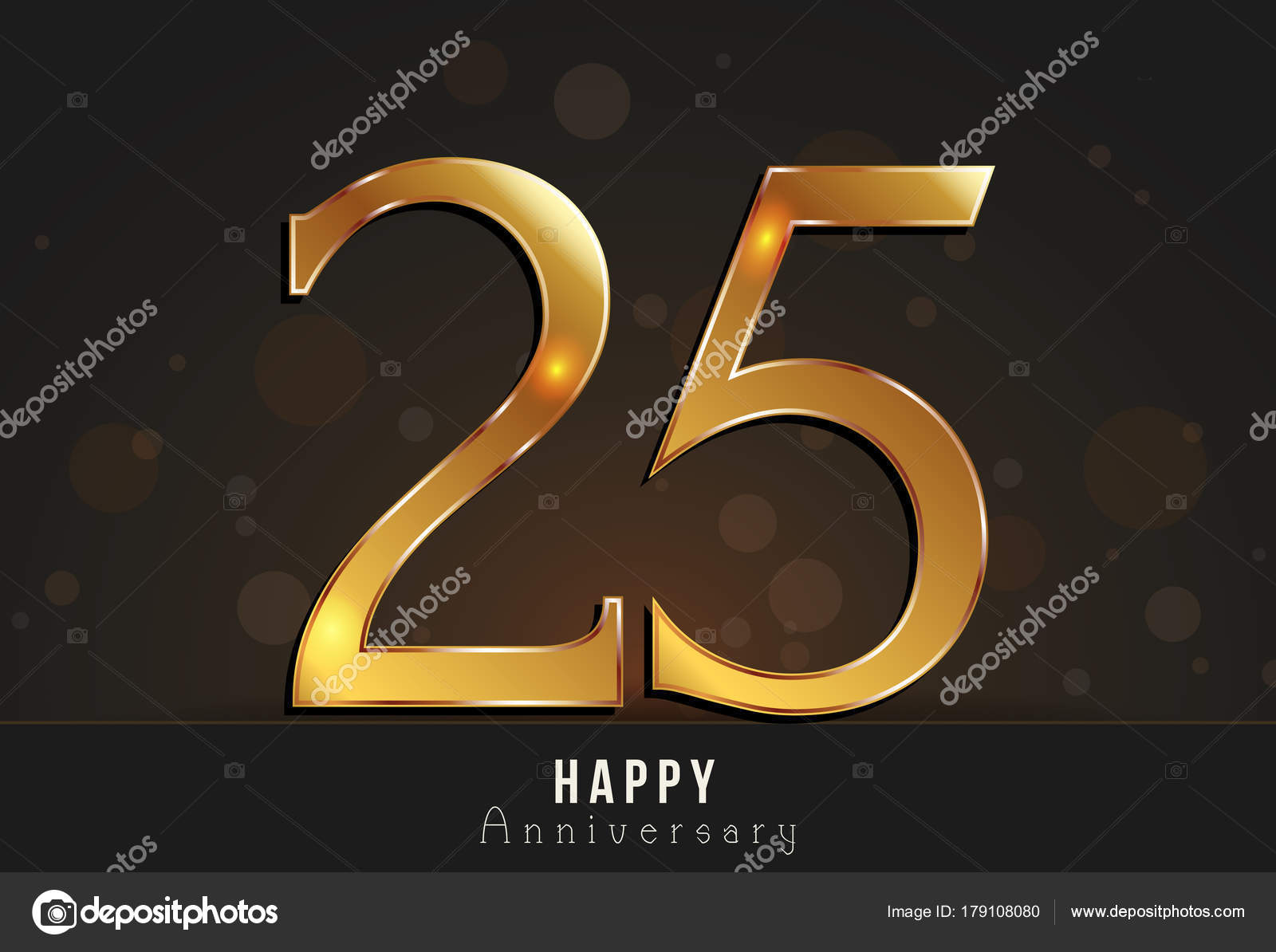 Years happy anniversary decorated card template with gold