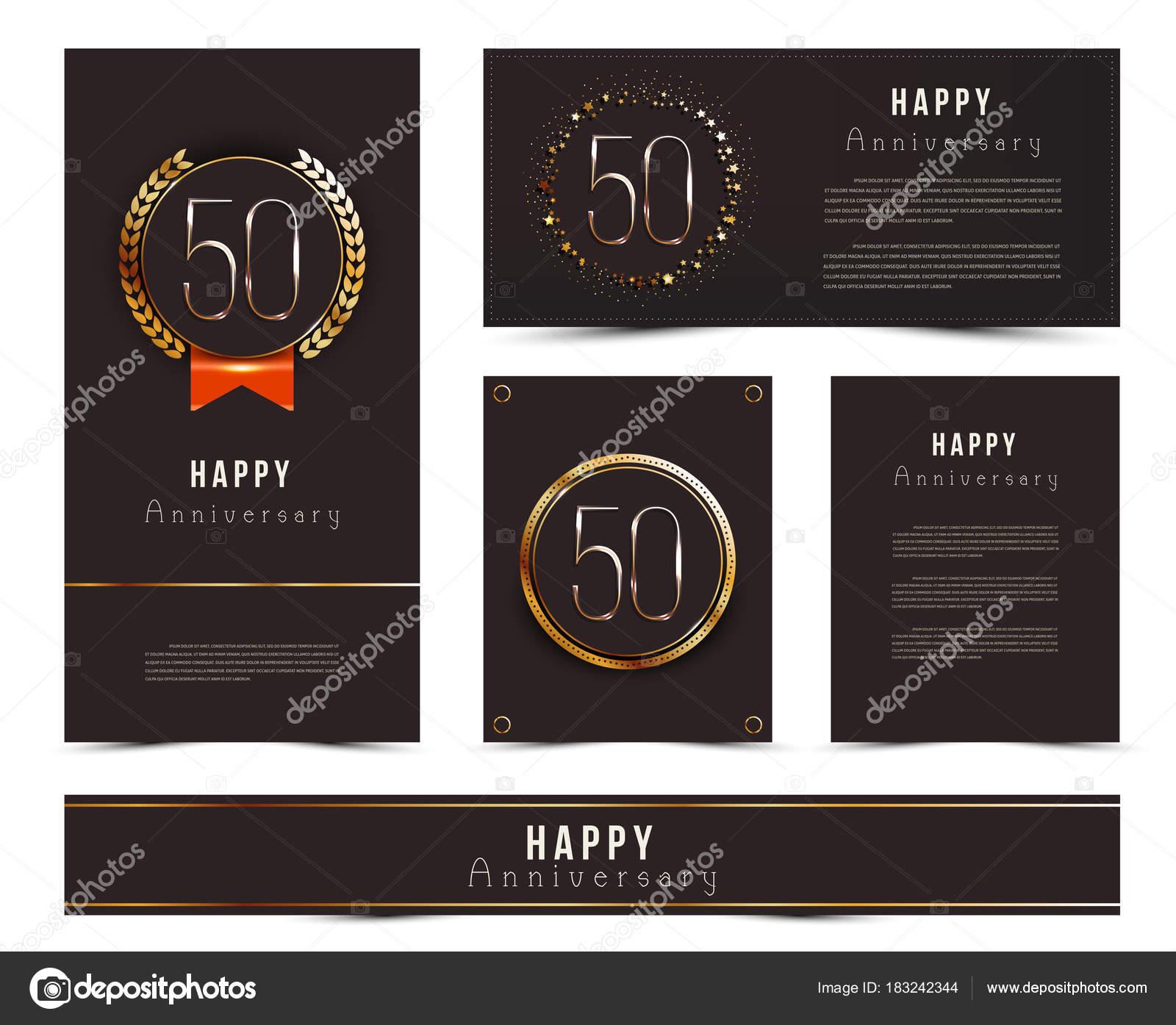 Conjunto de 50 plantillas de tarjetas de feliz aniversario — Vector ...