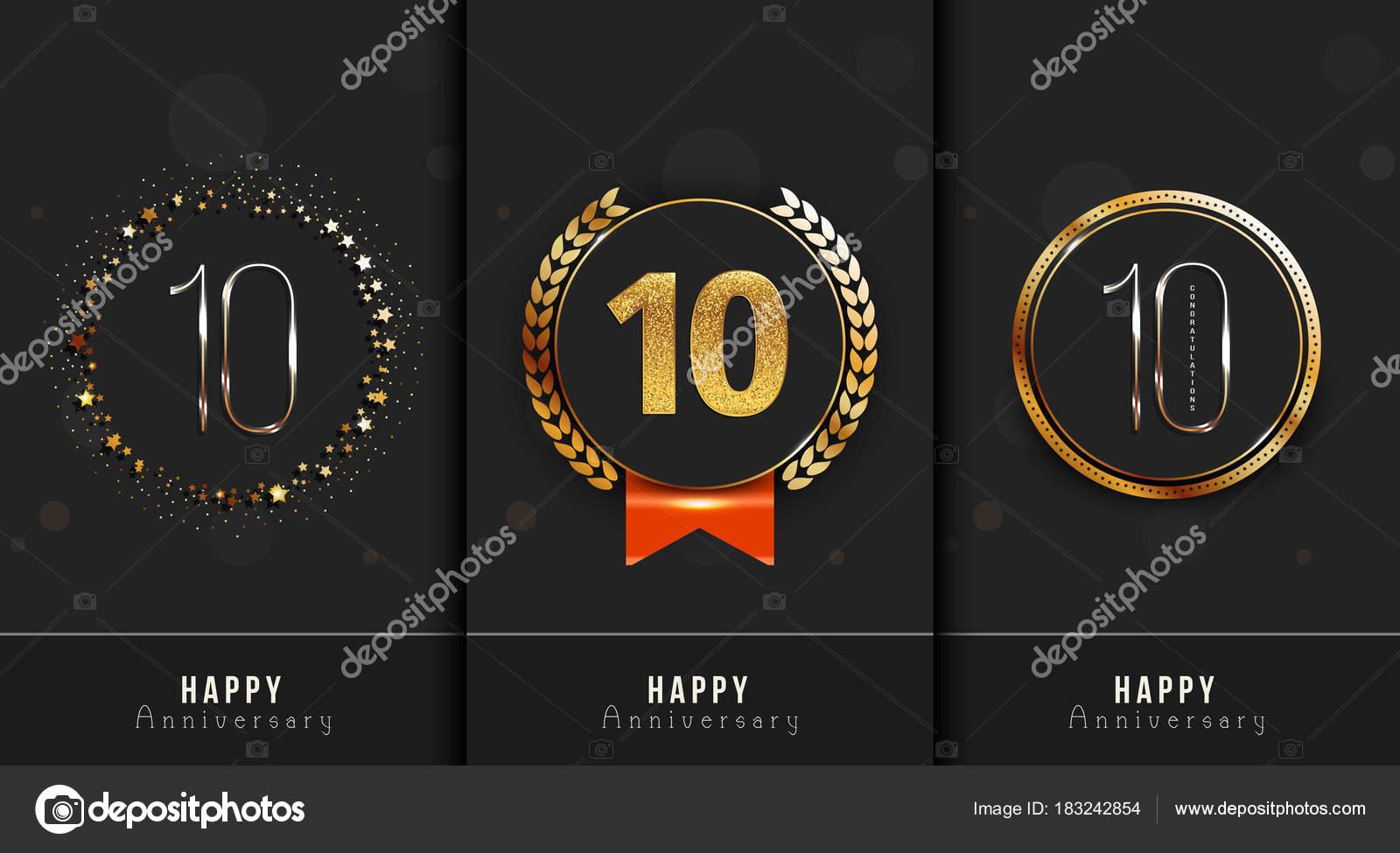 Conjunto de 10 plantillas de tarjetas de feliz aniversario — Vector ...