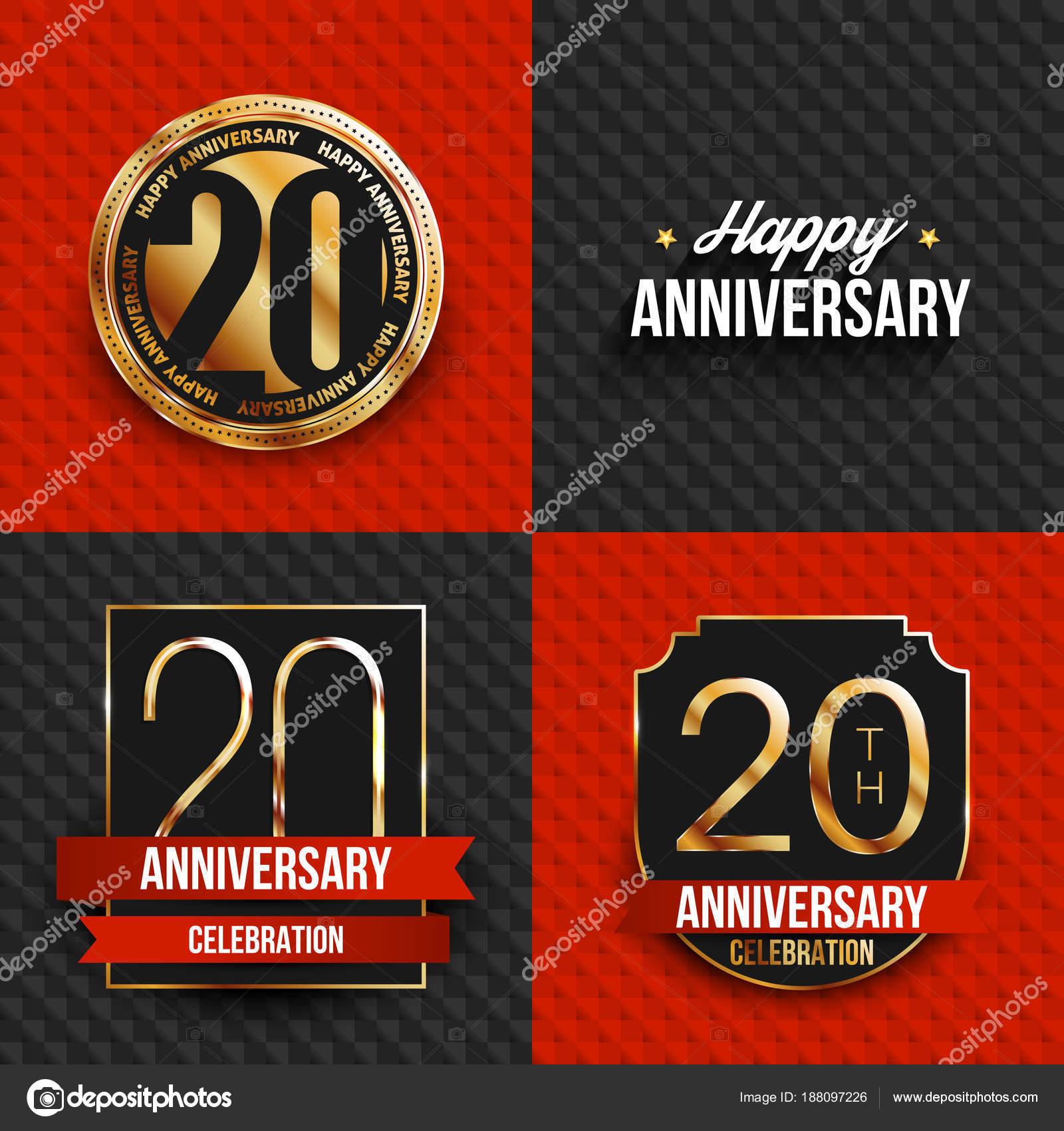Logos Anniversaire De 20 Ans Sur Fond Rouge Et Noir Illustration