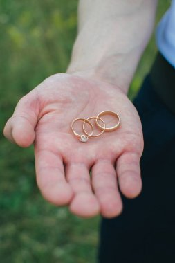 Wedding rings on the palm of your hand