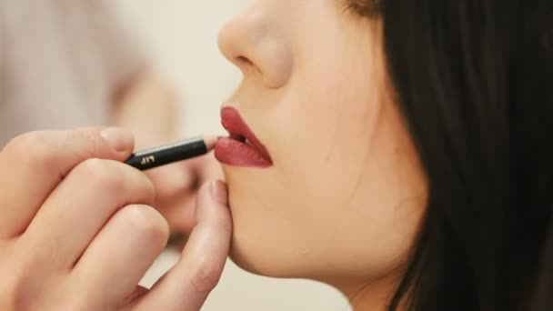 Make-up artist makes make-up young woman lips with lip pencil to stroke the lips