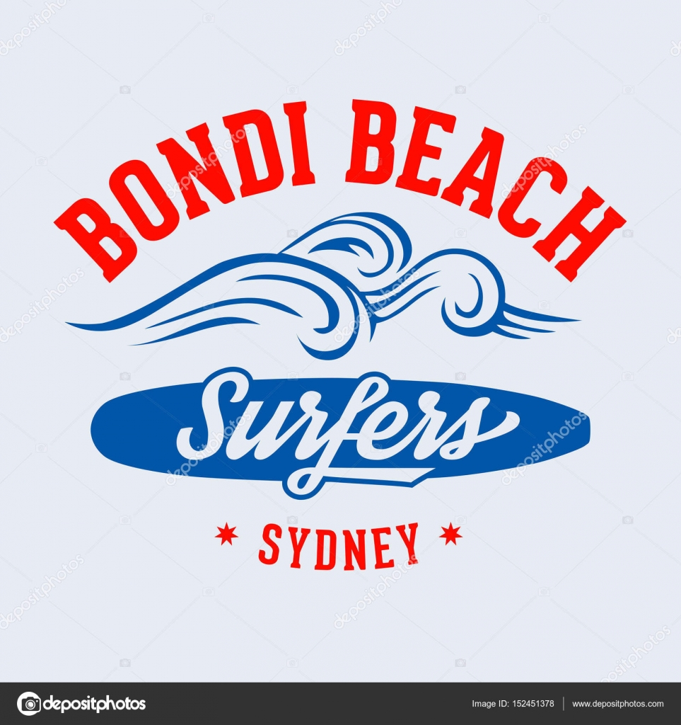 Bondi Beach Surfers Sydney T Shirt Design Stock Vector