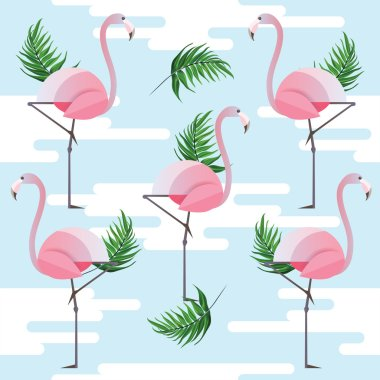 pink flamingo and palm leaves pattern